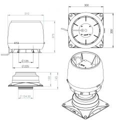 E190S Stoginis ventiliatorius su pagrindu
