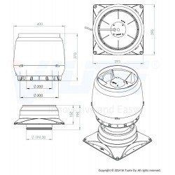 VILPE® XL ECo 250S Stoginis ventiliatorius su pagrindu