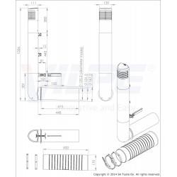 VILPE® Ross deflektorius 125/135 brėžinys